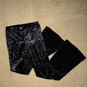 Black, textured, flare leggings pant